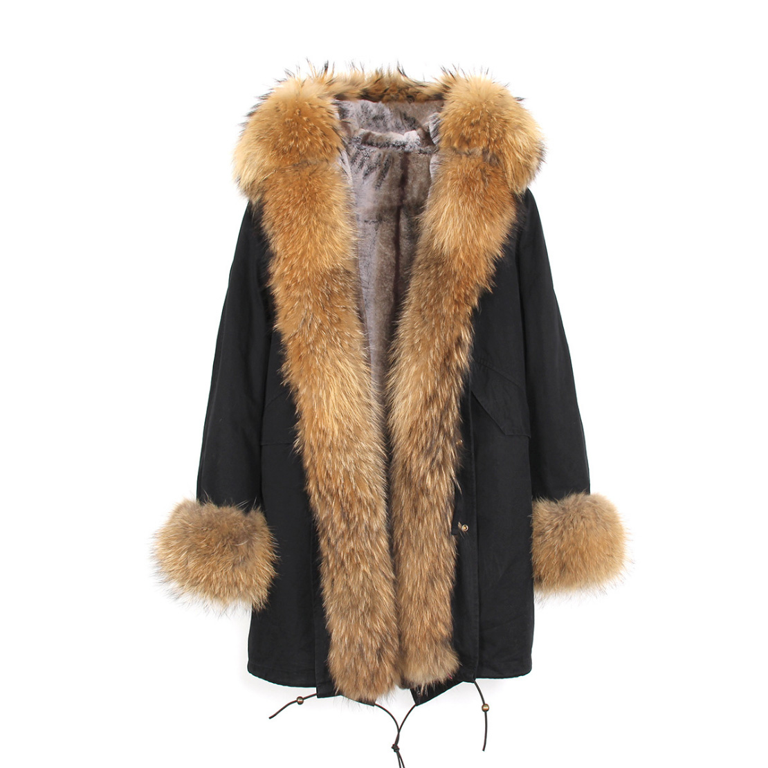 Raccoon Fur Trimmed Hooded Parka with Detachable Faux Rex Rabbit Fur Liner 122b-11