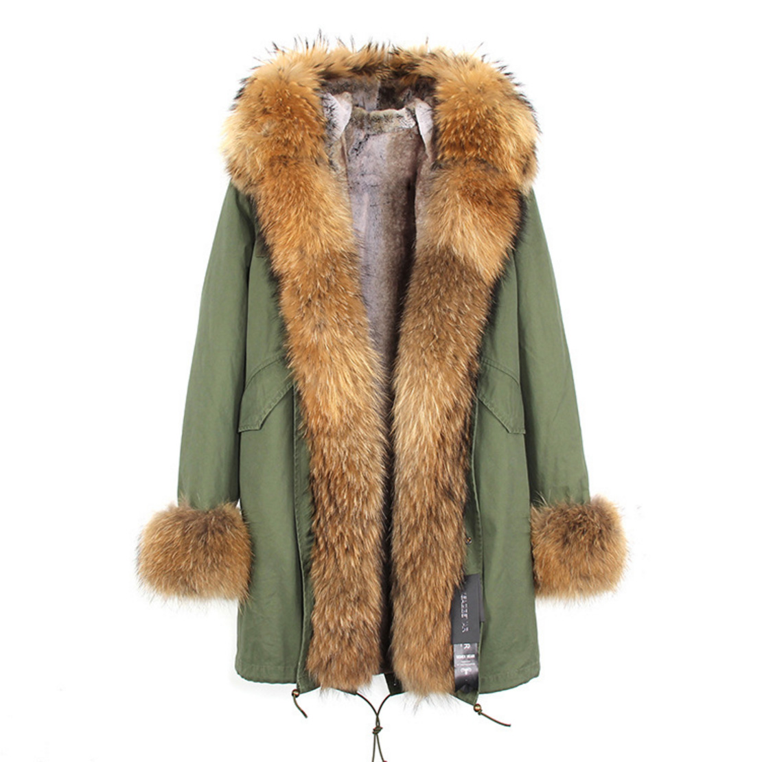 Raccoon Fur Trimmed Hooded Parka with Detachable Faux Rex Rabbit Fur Liner 122b-2