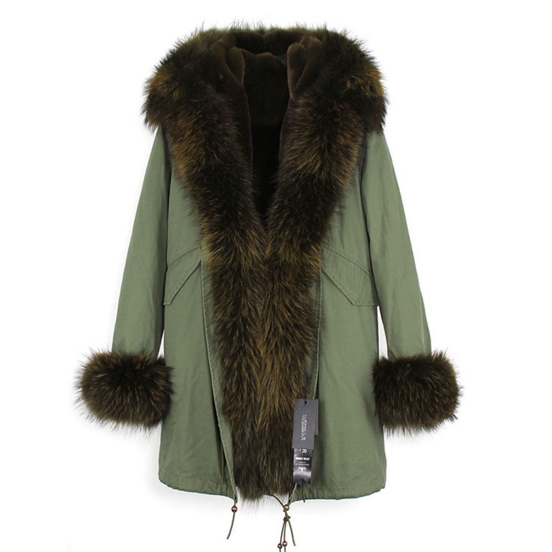 Raccoon Fur Trimmed Hooded Parka with Detachable Faux Rex Rabbit Fur Liner 122b-3