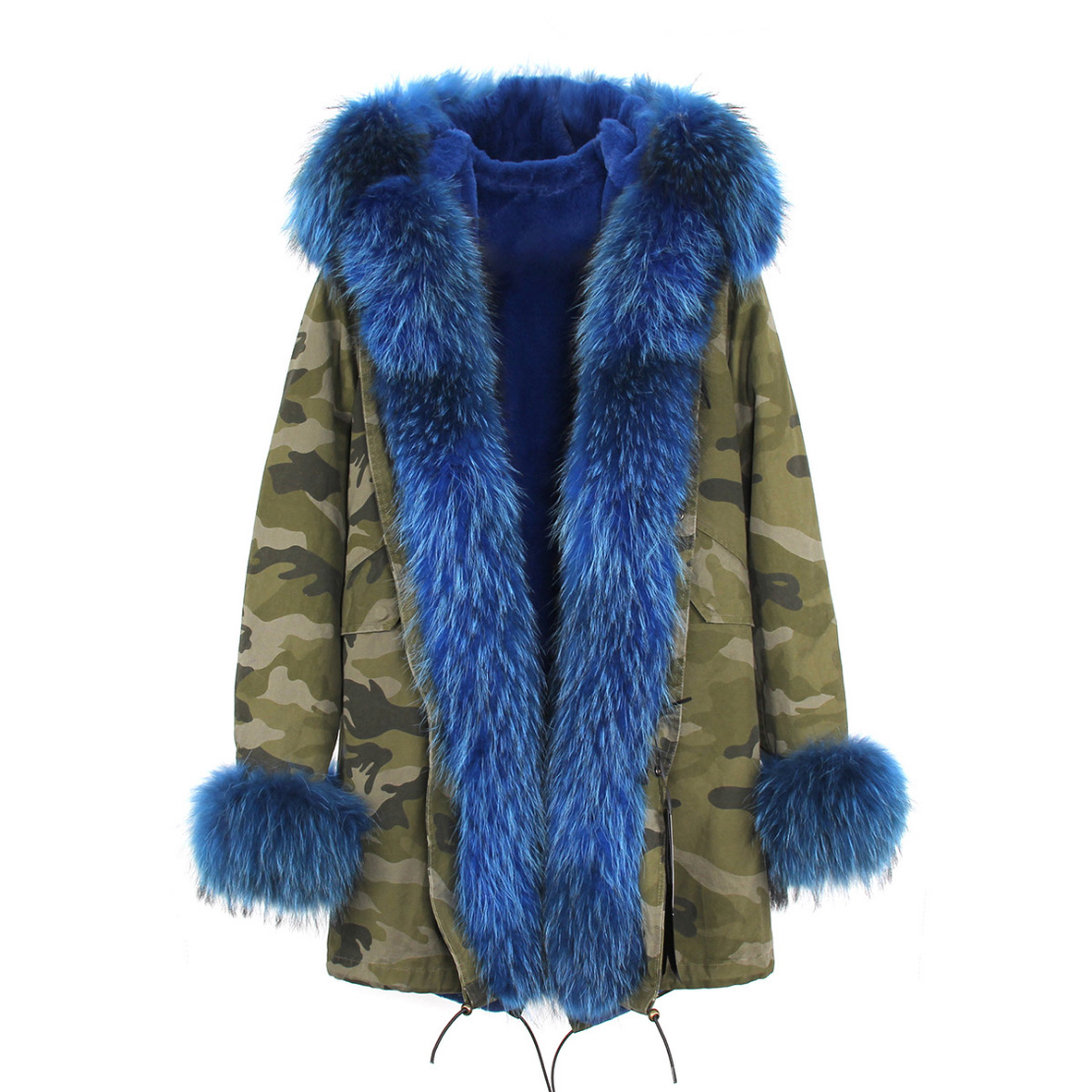 Raccoon Fur Trimmed Hooded Parka with Detachable Faux Rex Rabbit Fur Liner 122b-4