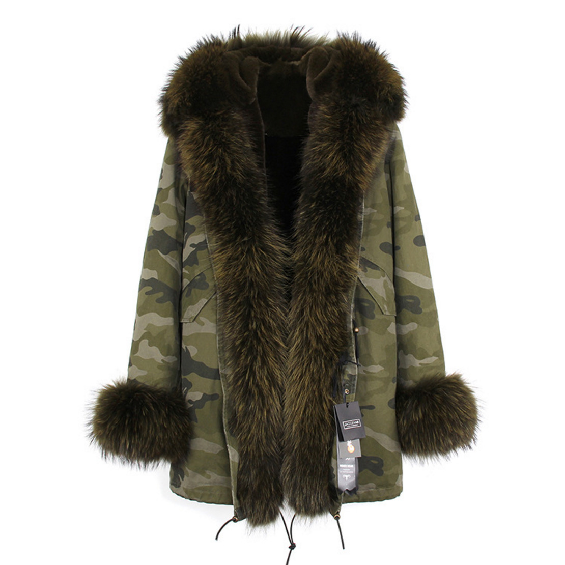 Raccoon Fur Trimmed Hooded Parka with Detachable Faux Rex Rabbit Fur Liner 122b-5