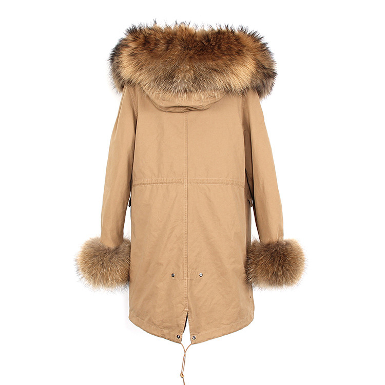 Raccoon Fur Trimmed Hooded Parka with Detachable Faux Rex Rabbit Fur Liner 122b-9
