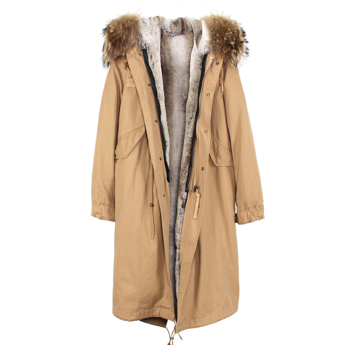 Raccoon Fur Trimmed Hooded Long Parka with Detachable Liner 123 Details 1
