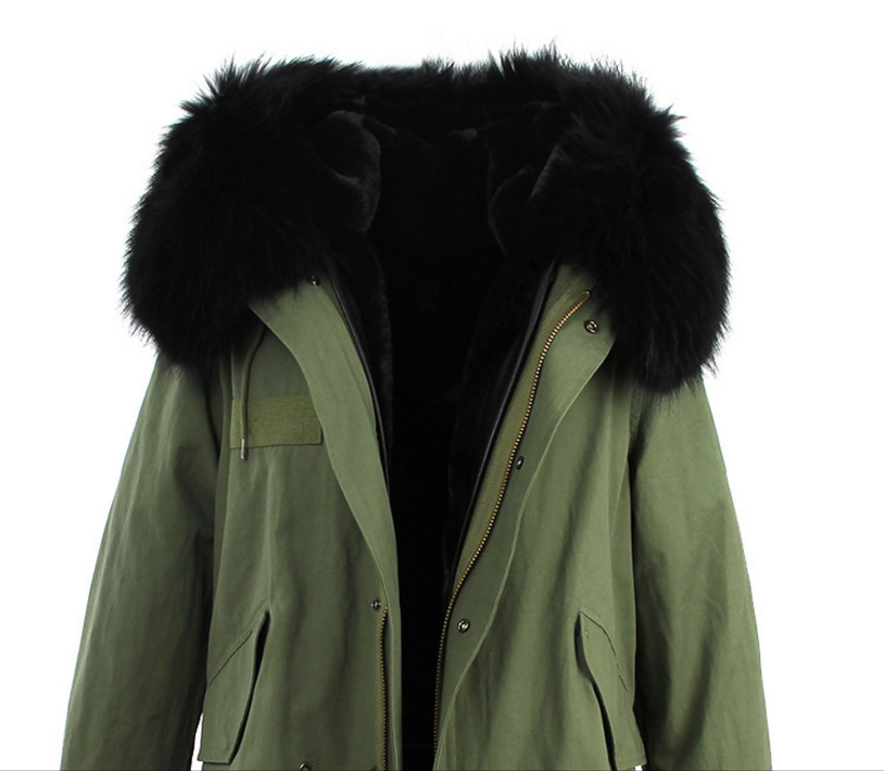 Raccoon Fur Trimmed Hooded Long Parka with Detachable Liner 123 Details 13