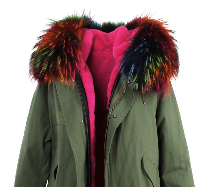 Raccoon Fur Trimmed Hooded Long Parka with Detachable Liner 123 Details 14