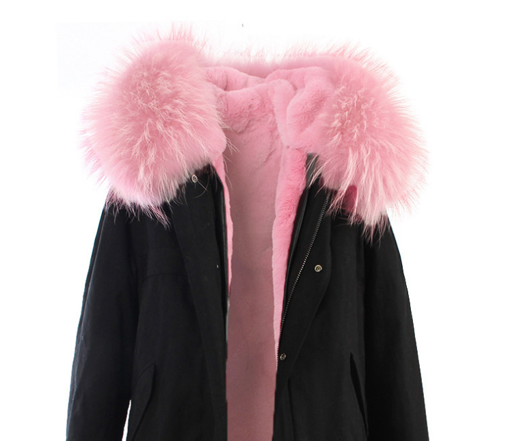 Raccoon Fur Trimmed Hooded Long Parka with Detachable Liner 123 Details 16