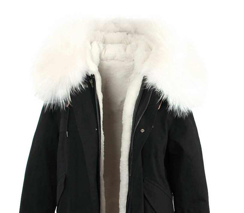Raccoon Fur Trimmed Hooded Long Parka with Detachable Liner 123 Details 17
