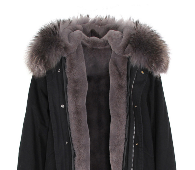 Raccoon Fur Trimmed Hooded Long Parka with Detachable Liner 123 Details 18
