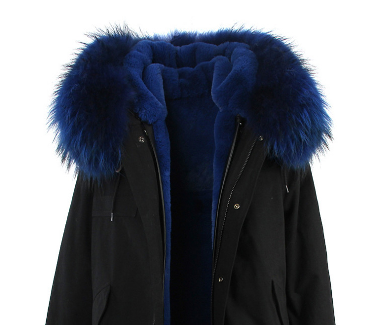 Raccoon Fur Trimmed Hooded Long Parka with Detachable Liner 123 Details 19