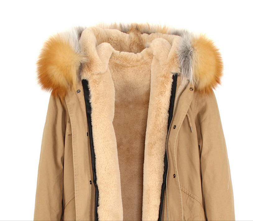 Raccoon Fur Trimmed Hooded Long Parka with Detachable Liner 123 Details 2