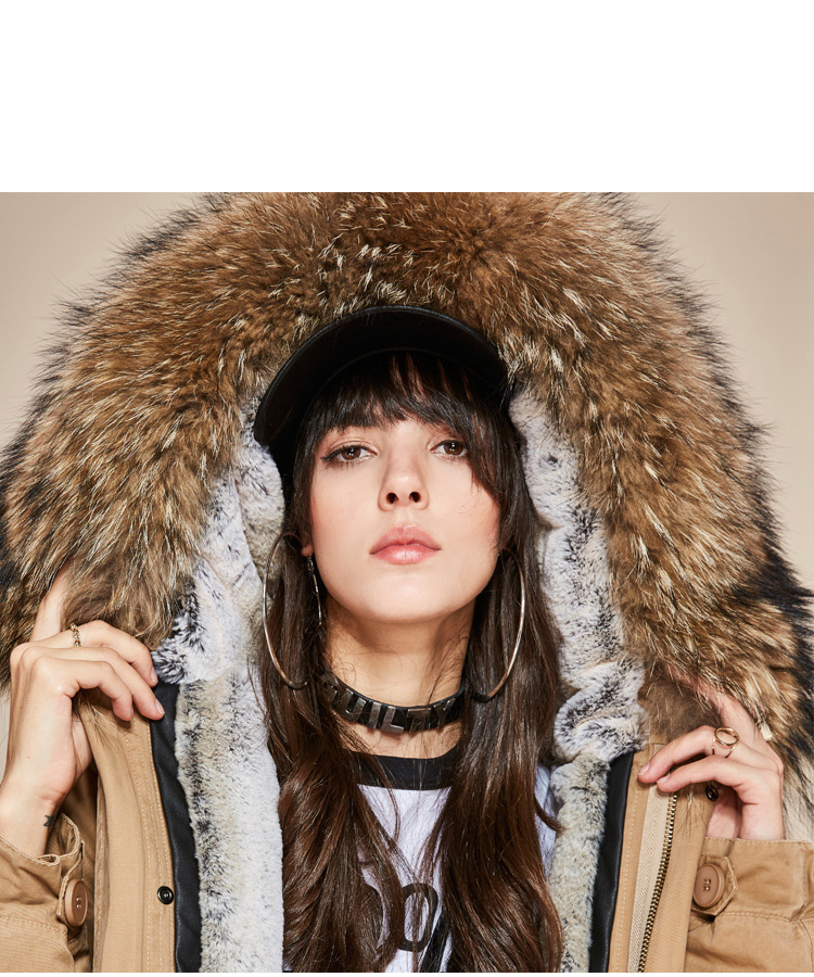 Raccoon Fur Trimmed Hooded Long Parka with Detachable Liner 123 Details 23
