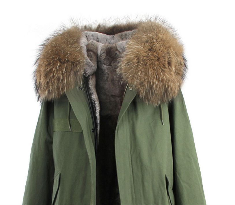 Raccoon Fur Trimmed Hooded Long Parka with Detachable Liner 123 Details 3