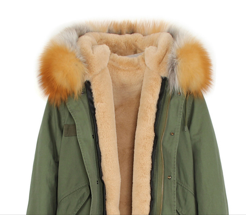 Raccoon Fur Trimmed Hooded Long Parka with Detachable Liner 123 Details 4