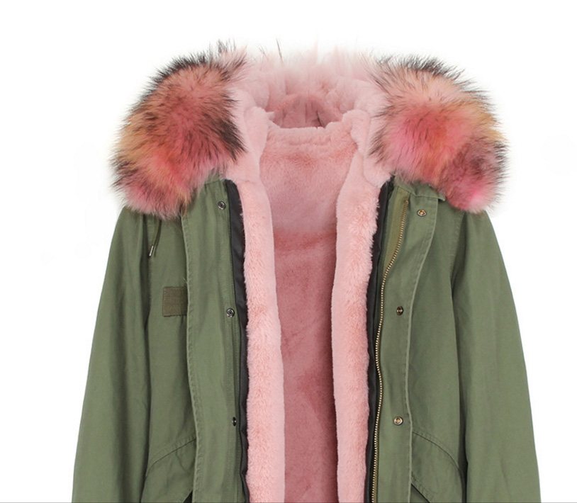 Raccoon Fur Trimmed Hooded Long Parka with Detachable Liner 123 Details 5