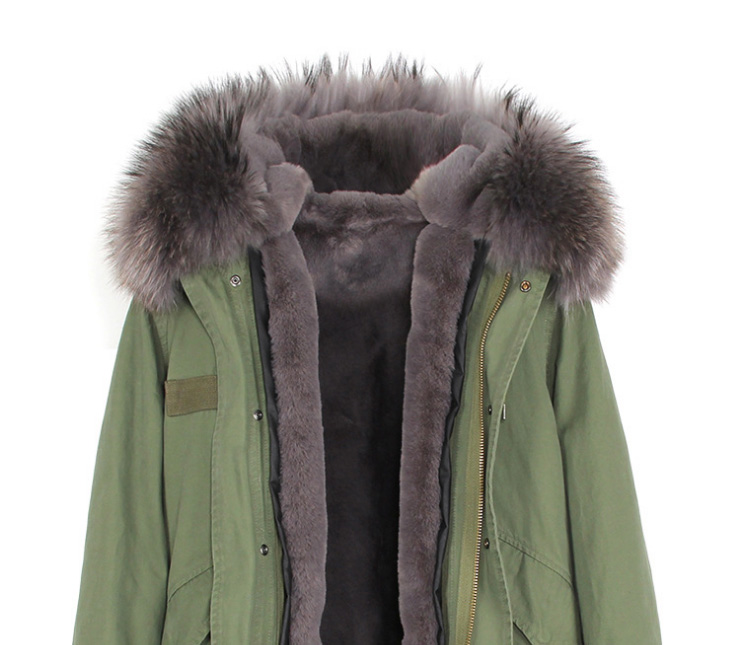 Raccoon Fur Trimmed Hooded Long Parka with Detachable Liner 123 Details 6