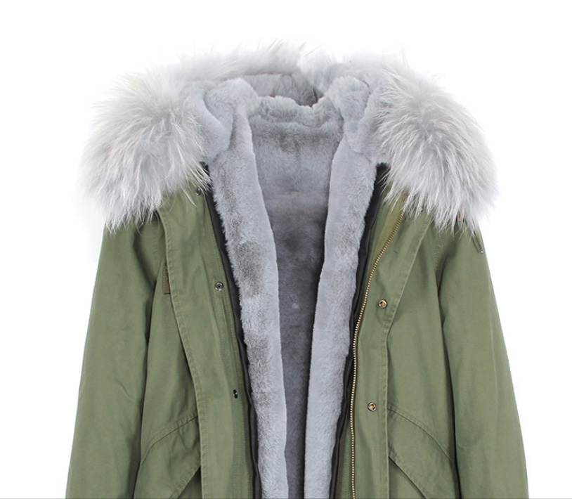 Raccoon Fur Trimmed Hooded Long Parka with Detachable Liner 123 Details 7