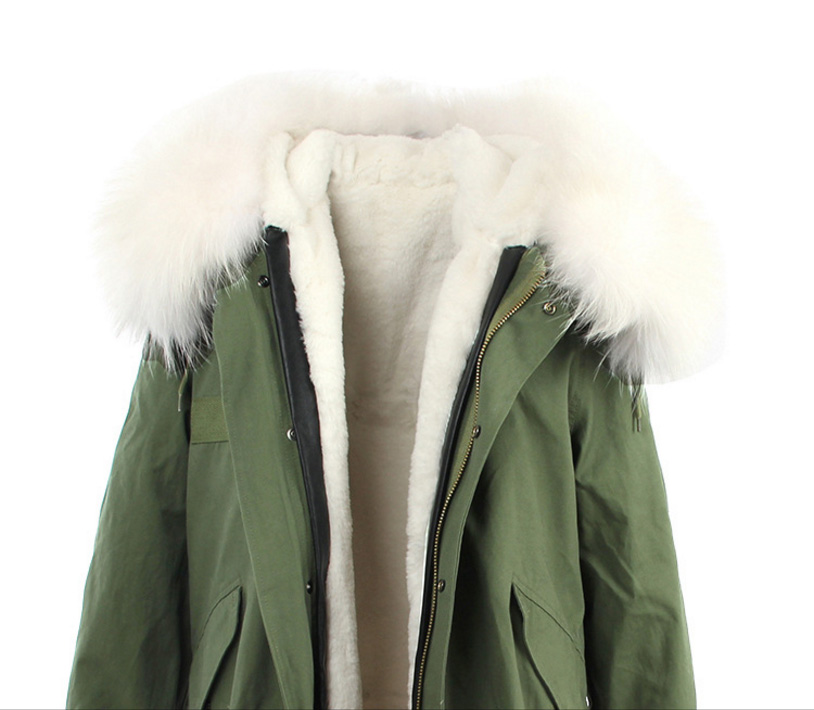 Raccoon Fur Trimmed Hooded Long Parka with Detachable Liner 123 Details 8