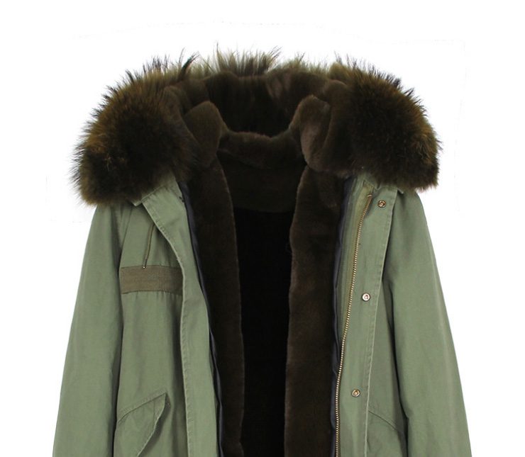Raccoon Fur Trimmed Hooded Long Parka with Detachable Liner 123 Details 9