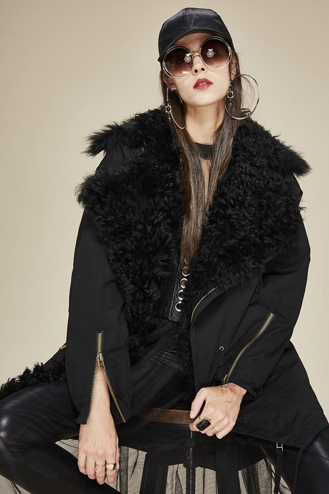 Lamb Fur Trimmed Parka with Quilted Liner 124 Details 2