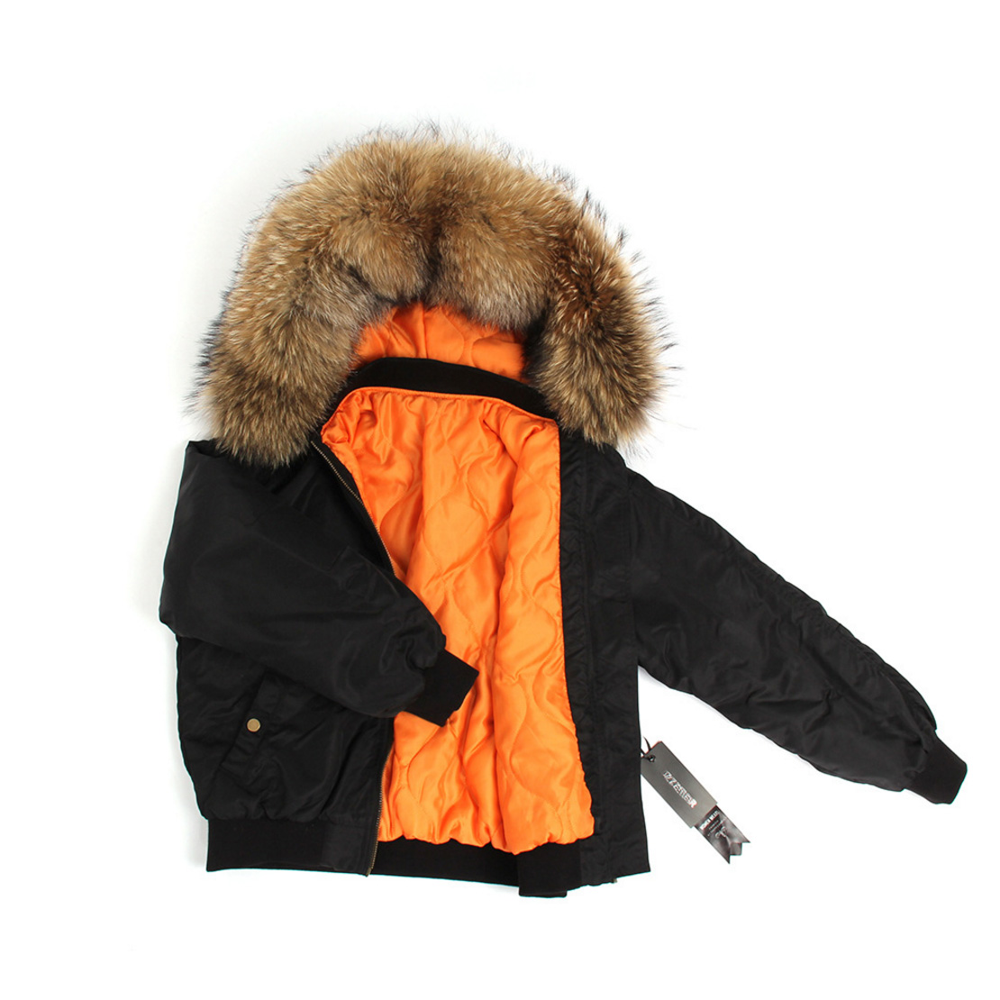 Raccoon Fur Trimmed Hooded Cotton-padded Jacket 129 Details 11
