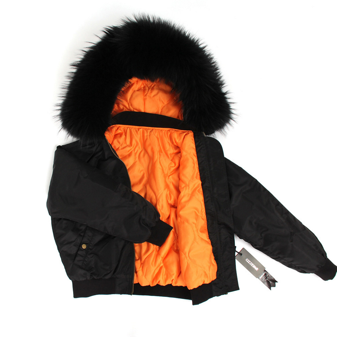 Raccoon Fur Trimmed Hooded Cotton-padded Jacket 129 Details 12