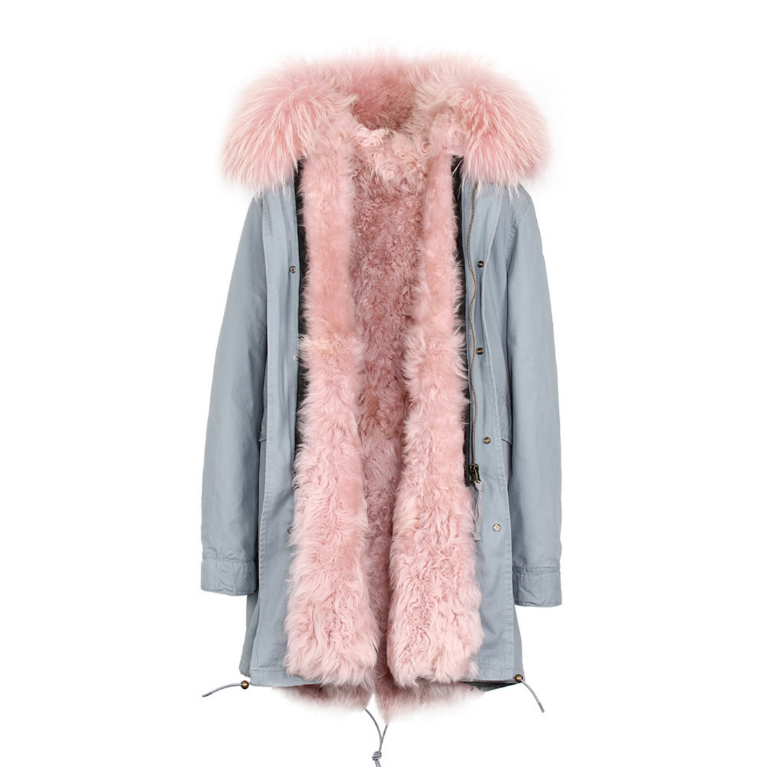 Raccoon Fur Trimmed Hooded Parka with Detachable Lamb Fur Liner 132-1