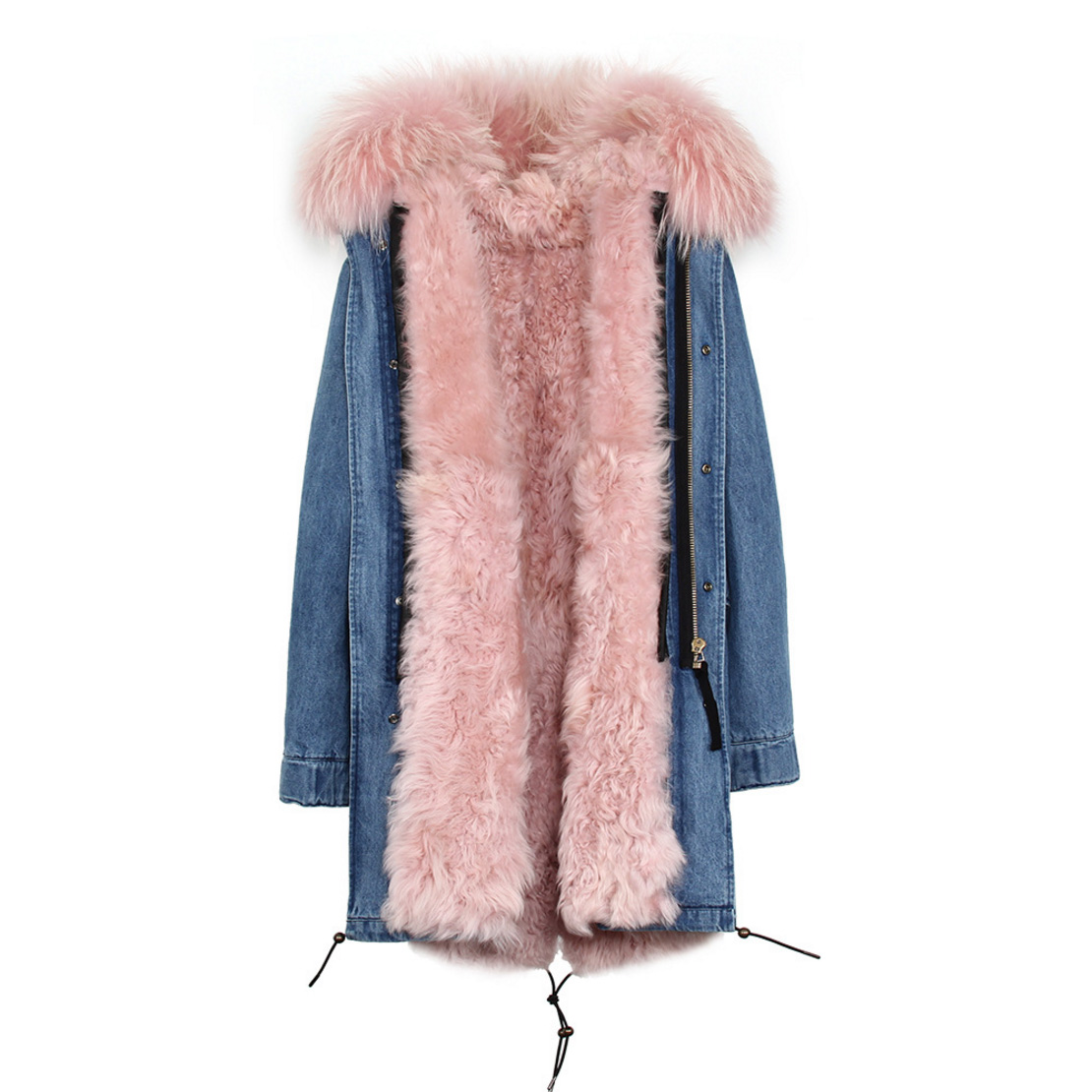 Raccoon Fur Trimmed Hooded Parka with Detachable Lamb Fur Liner 132-10