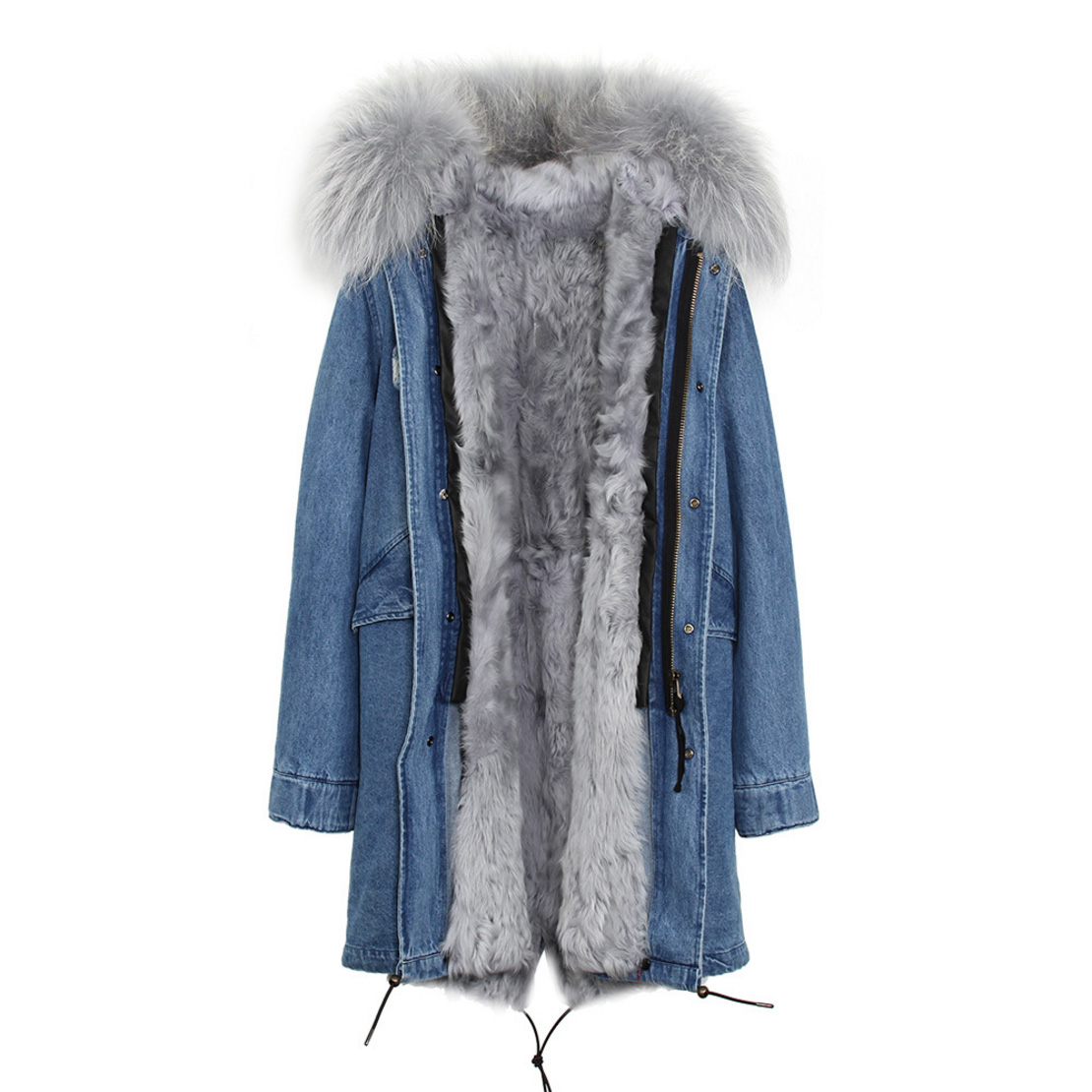 Raccoon Fur Trimmed Hooded Parka with Detachable Lamb Fur Liner 132-11