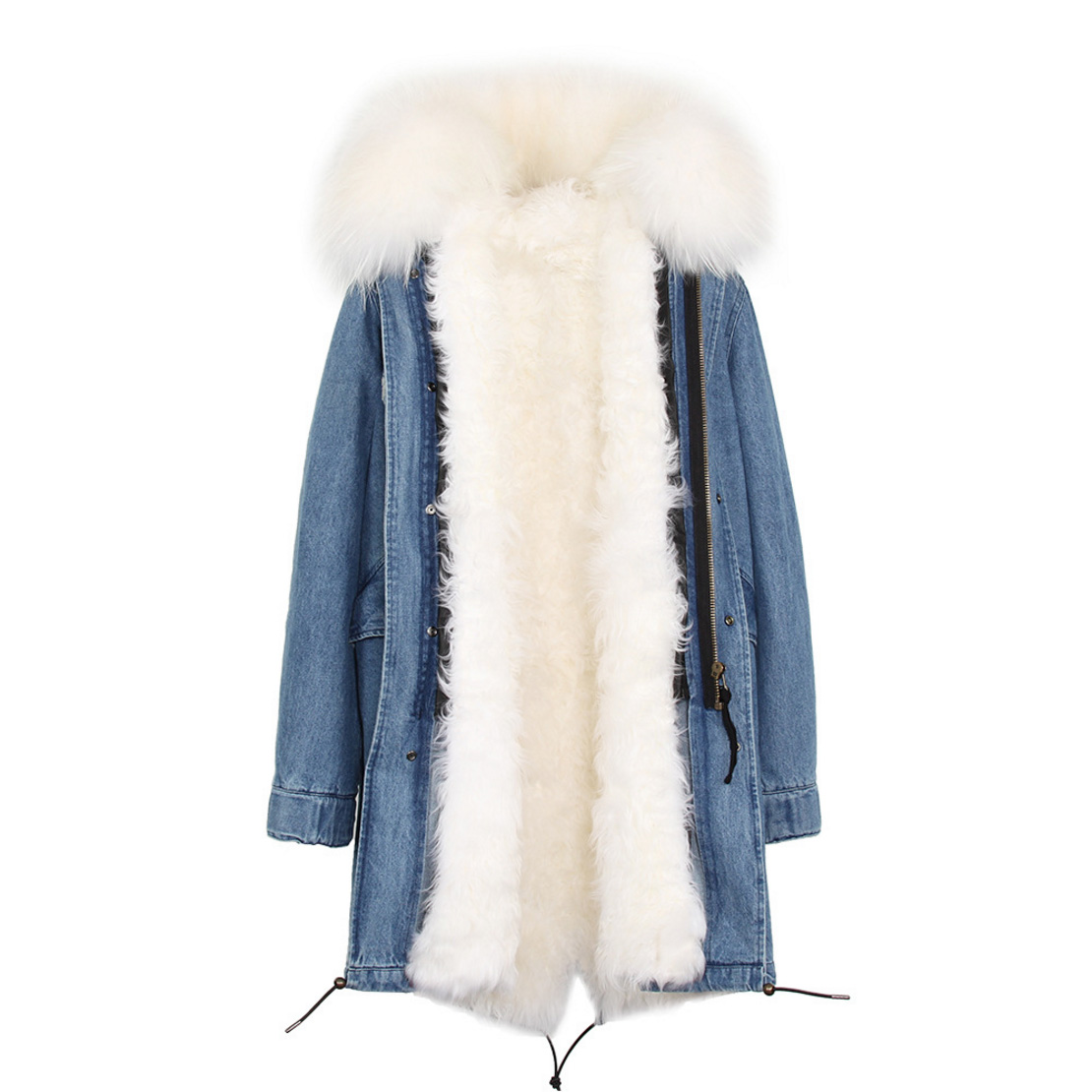 Raccoon Fur Trimmed Hooded Parka with Detachable Lamb Fur Liner 132-12