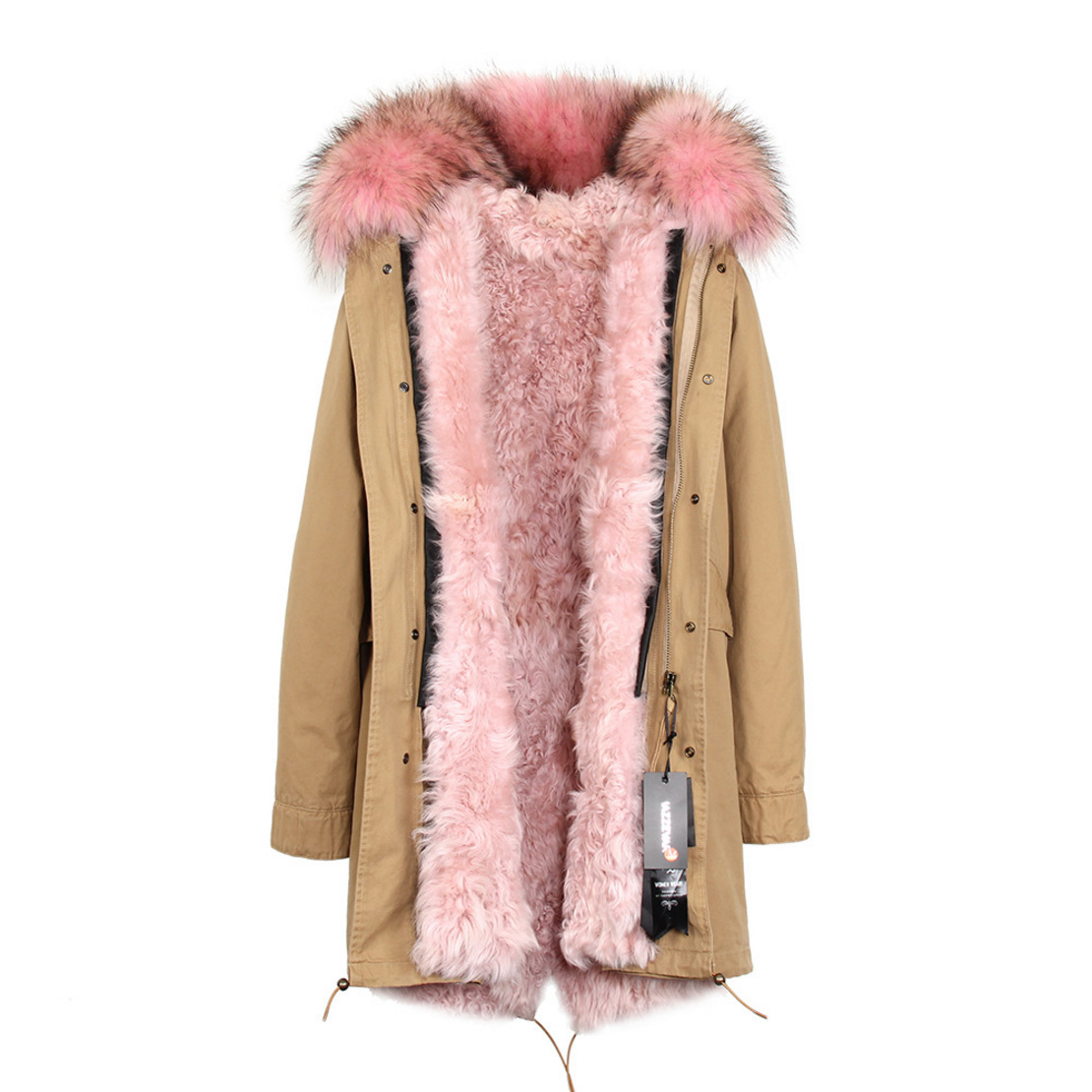 Raccoon Fur Trimmed Hooded Parka with Detachable Lamb Fur Liner 132-13