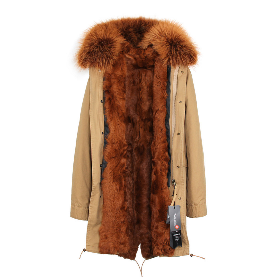 Raccoon Fur Trimmed Hooded Parka with Detachable Lamb Fur Liner 132-14