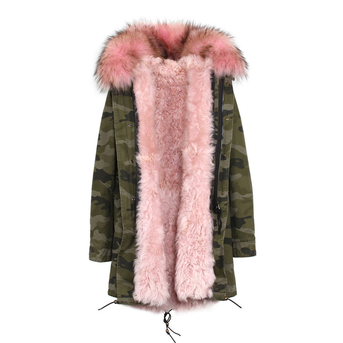 Raccoon Fur Trimmed Hooded Parka with Detachable Lamb Fur Liner 132-16