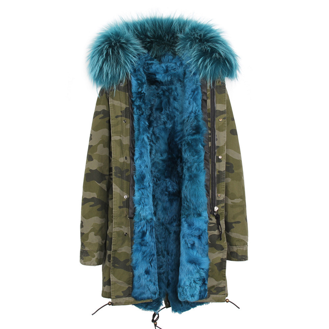 Raccoon Fur Trimmed Hooded Parka with Detachable Lamb Fur Liner 132-17