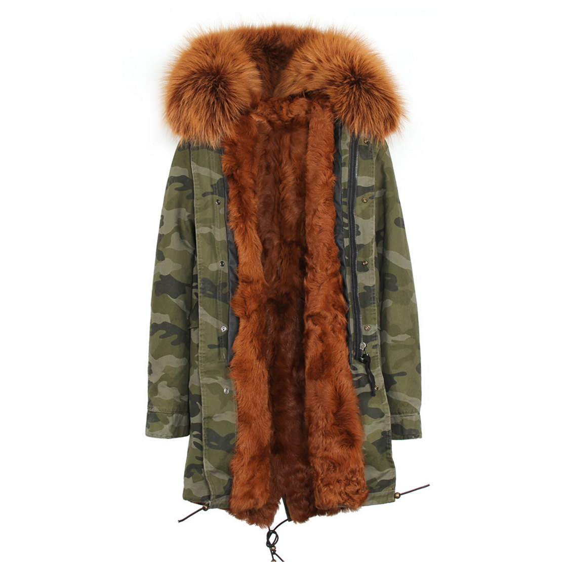 Raccoon Fur Trimmed Hooded Parka with Detachable Lamb Fur Liner 132-18