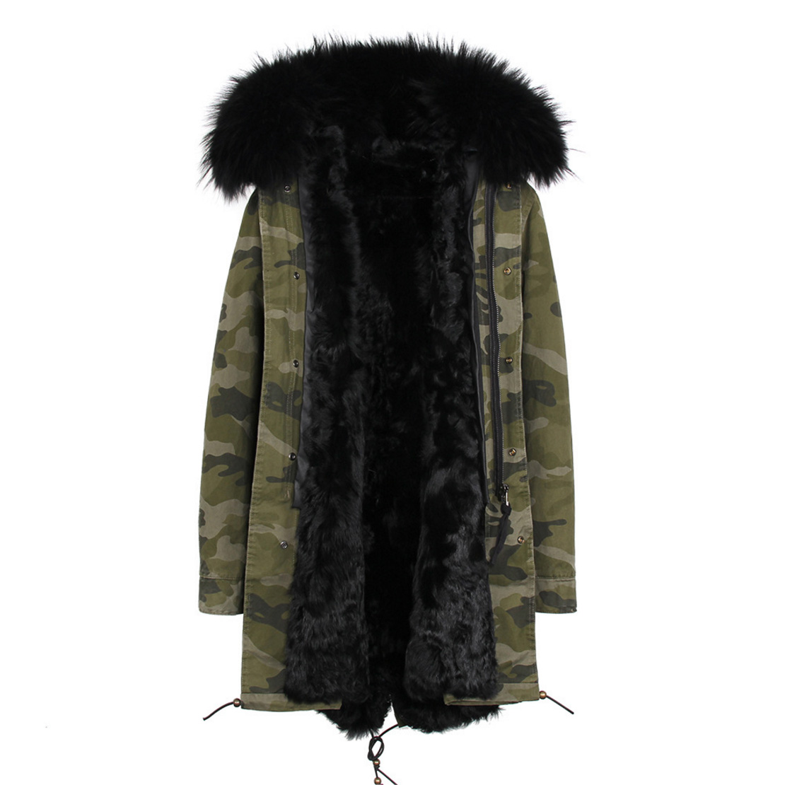 Raccoon Fur Trimmed Hooded Parka with Detachable Lamb Fur Liner 132-19