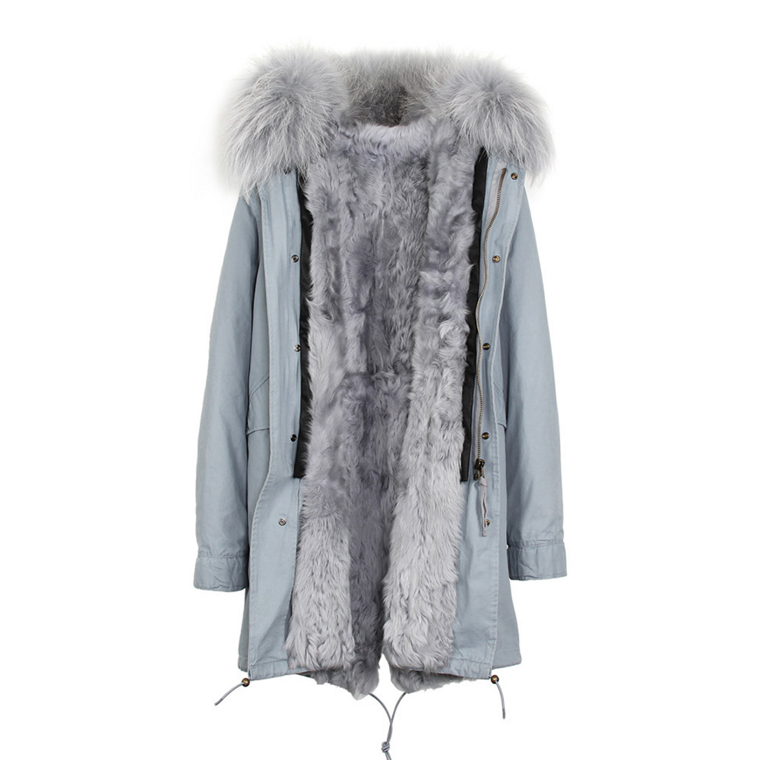 Raccoon Fur Trimmed Hooded Parka with Detachable Lamb Fur Liner 132-2