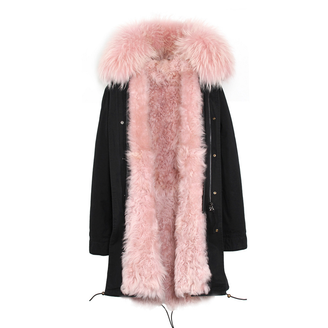 Raccoon Fur Trimmed Hooded Parka with Detachable Lamb Fur Liner 132-20