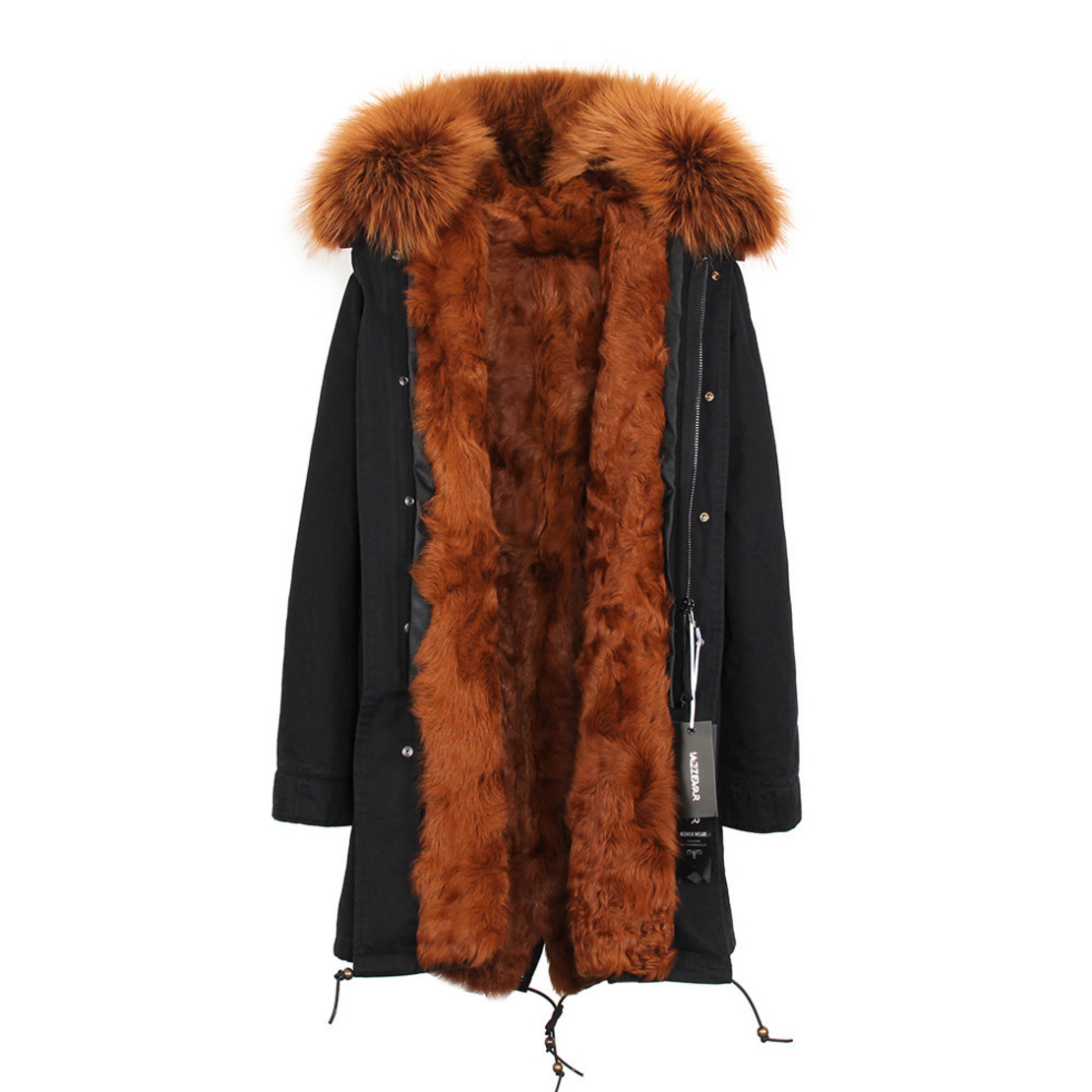 Raccoon Fur Trimmed Hooded Parka with Detachable Lamb Fur Liner 132-21
