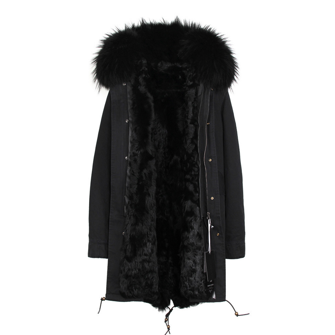 Raccoon Fur Trimmed Hooded Parka with Detachable Lamb Fur Liner 132-22