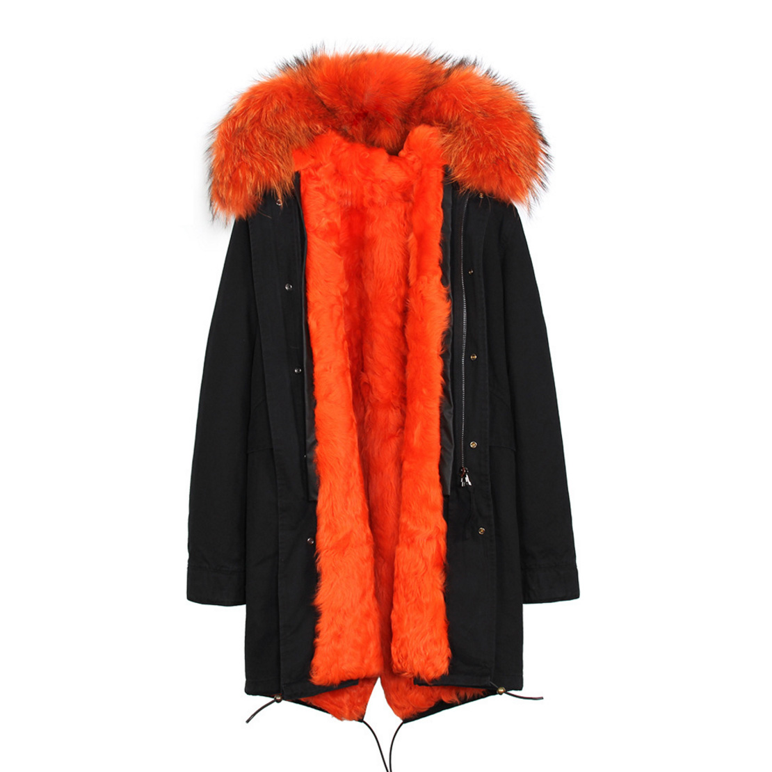 Raccoon Fur Trimmed Hooded Parka with Detachable Lamb Fur Liner 132-23