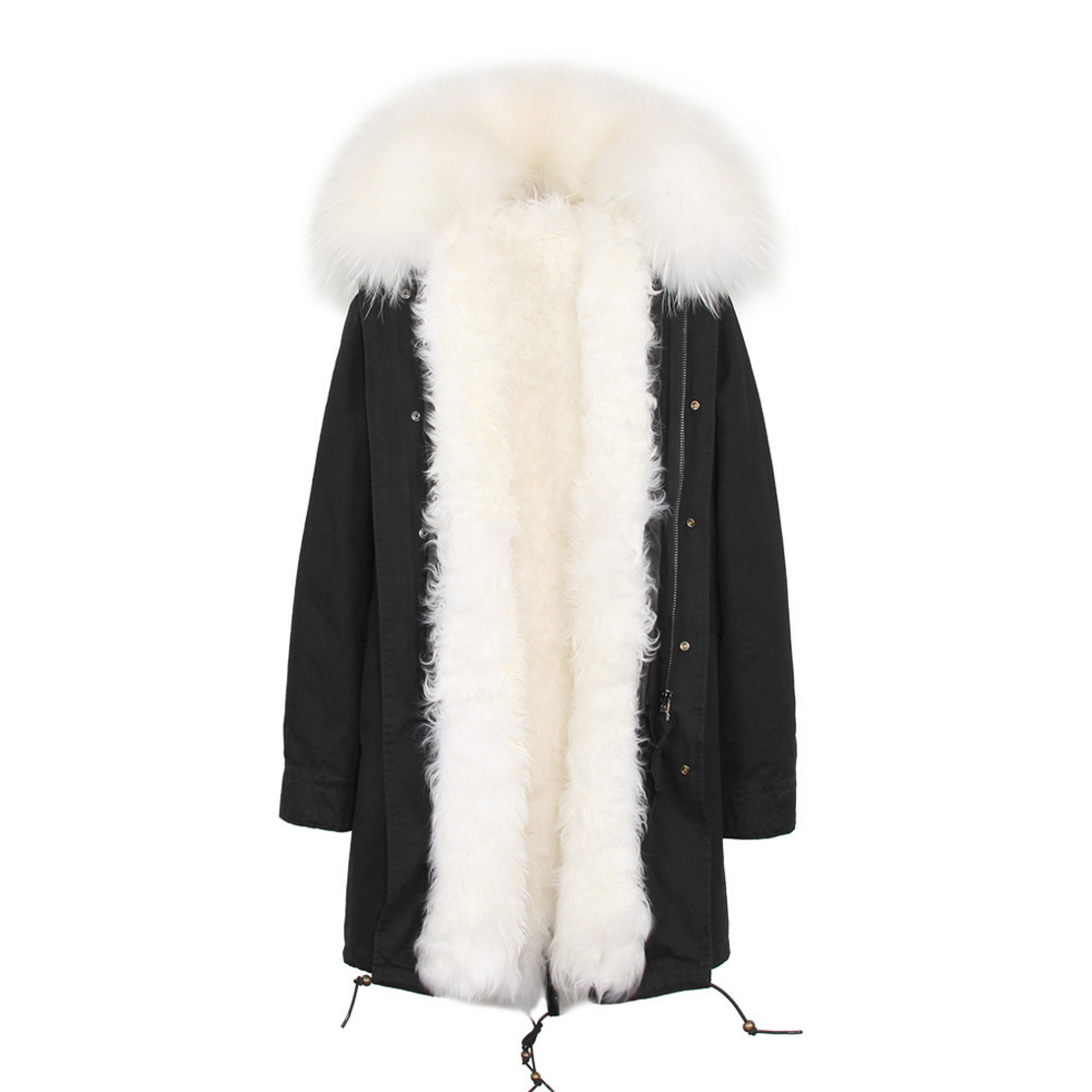 Raccoon Fur Trimmed Hooded Parka with Detachable Lamb Fur Liner 132-24