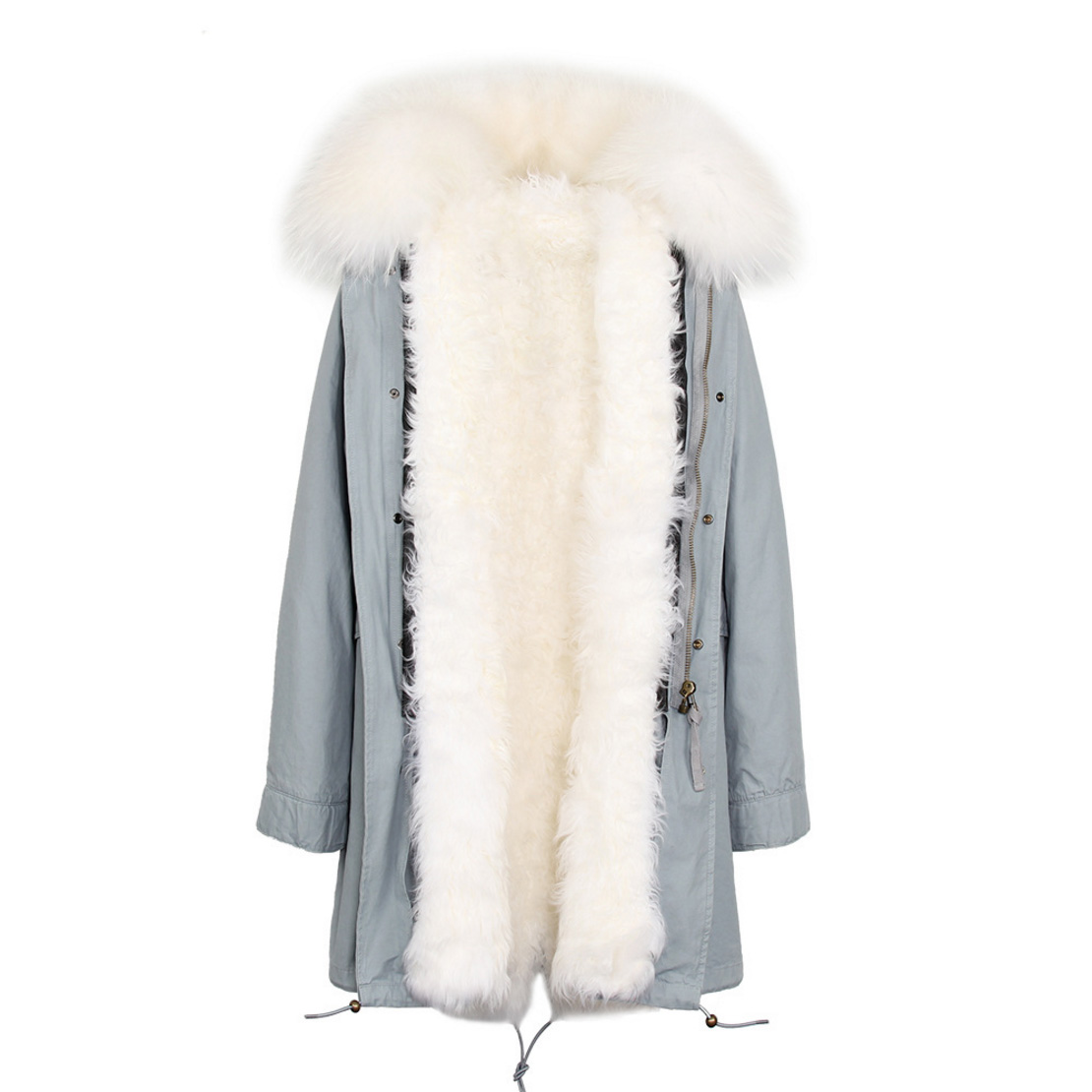 Raccoon Fur Trimmed Hooded Parka with Detachable Lamb Fur Liner 132-3