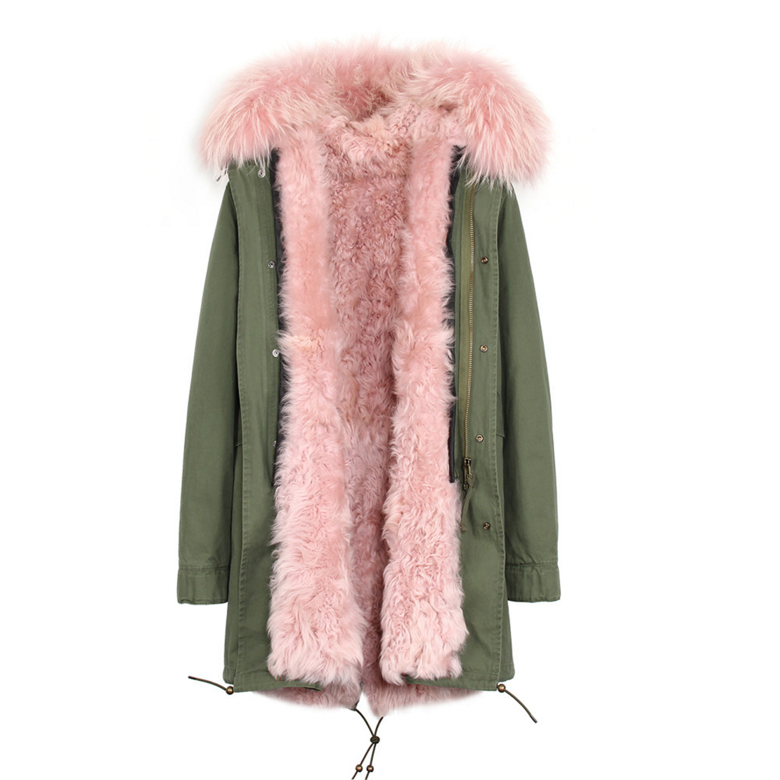 Raccoon Fur Trimmed Hooded Parka with Detachable Lamb Fur Liner 132-4