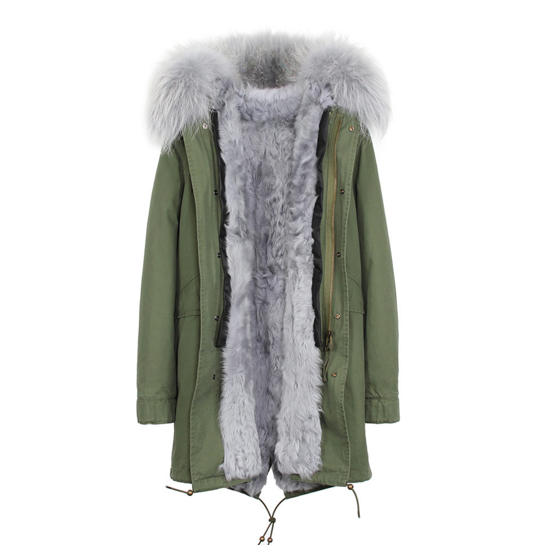 Raccoon Fur Trimmed Hooded Parka with Detachable Lamb Fur Liner 132-5