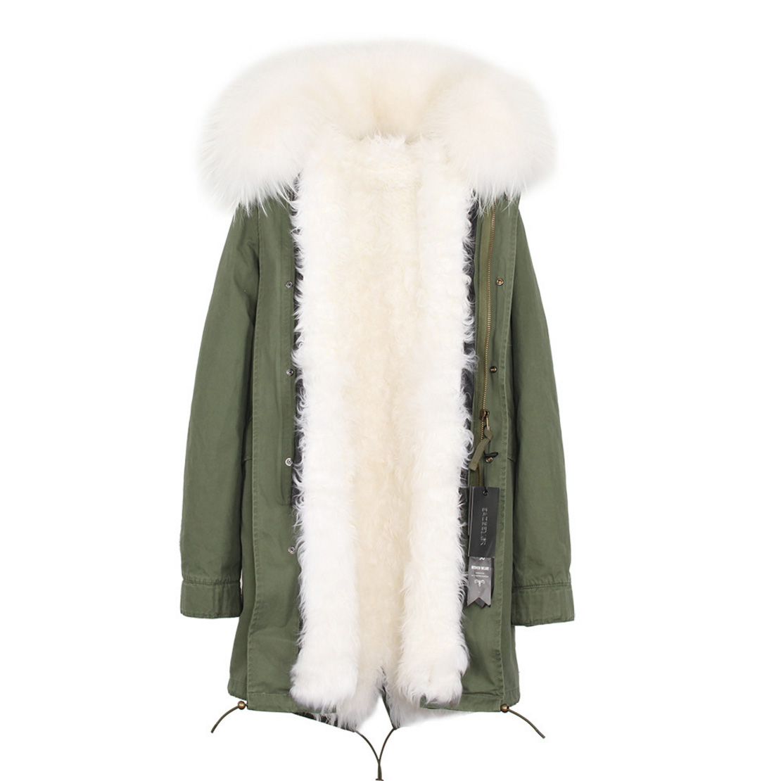 Raccoon Fur Trimmed Hooded Parka with Detachable Lamb Fur Liner 132-6