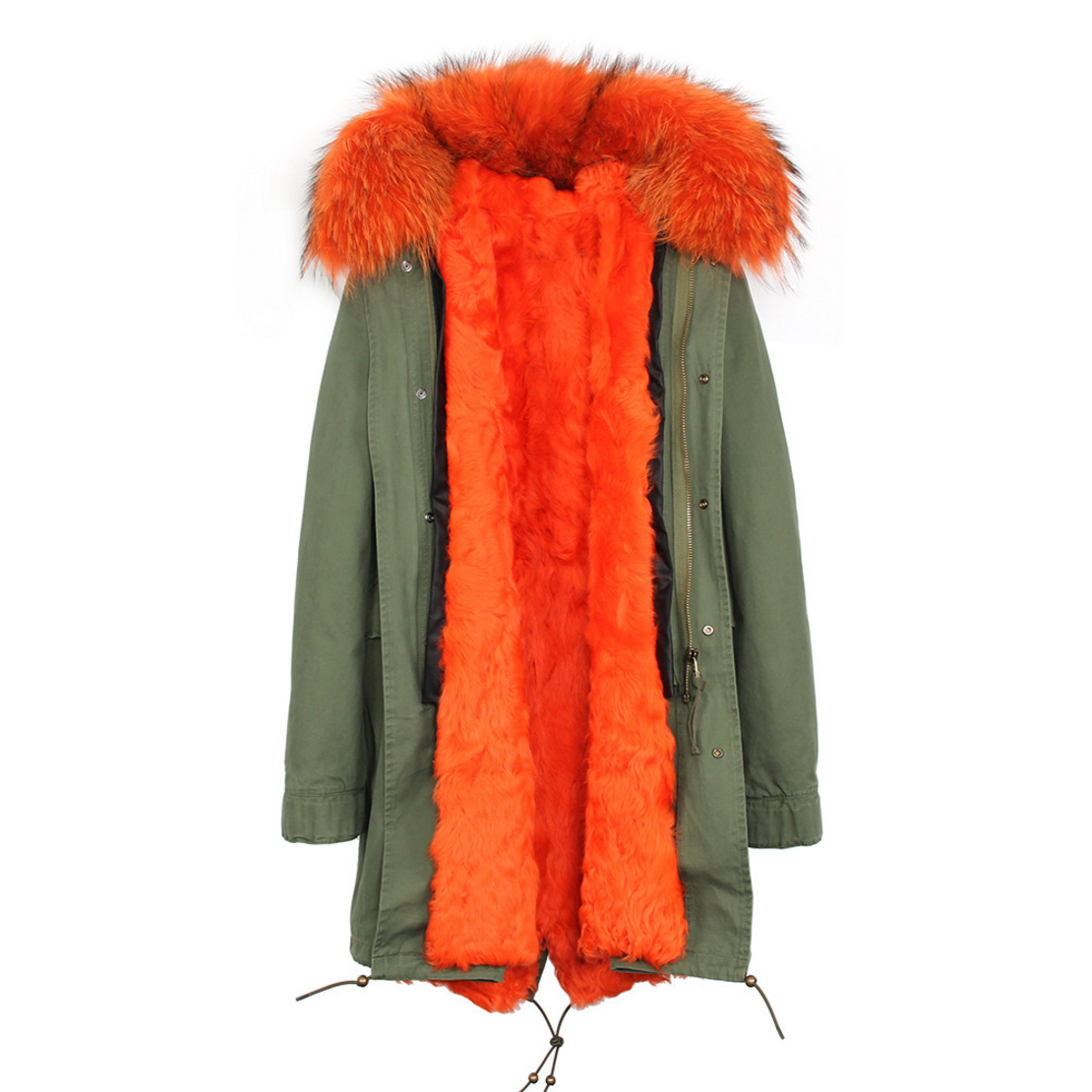 Raccoon Fur Trimmed Hooded Parka with Detachable Lamb Fur Liner 132-8