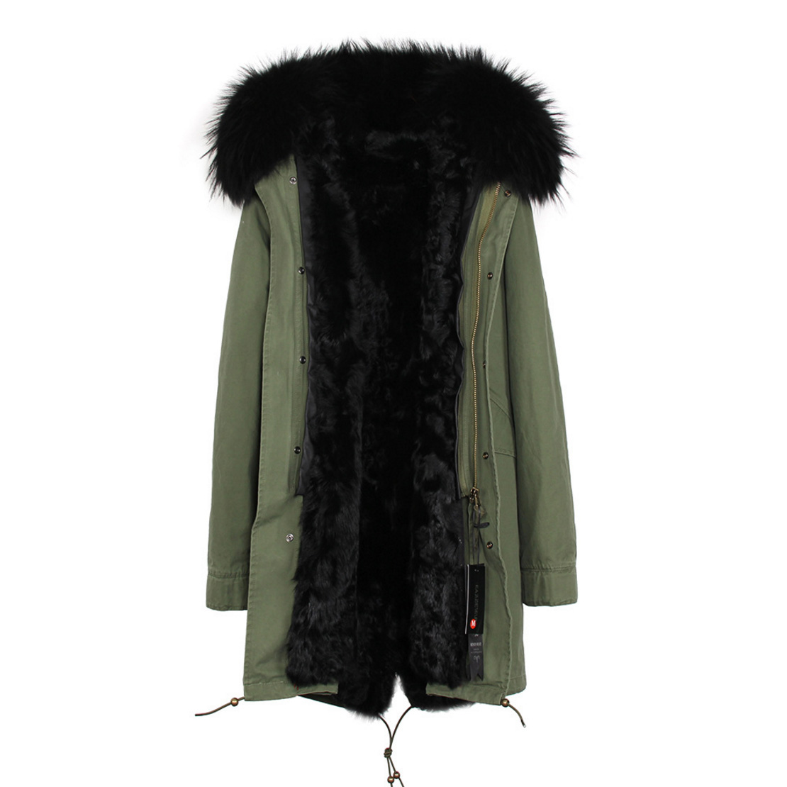 Raccoon Fur Trimmed Hooded Parka with Detachable Lamb Fur Liner 132-9
