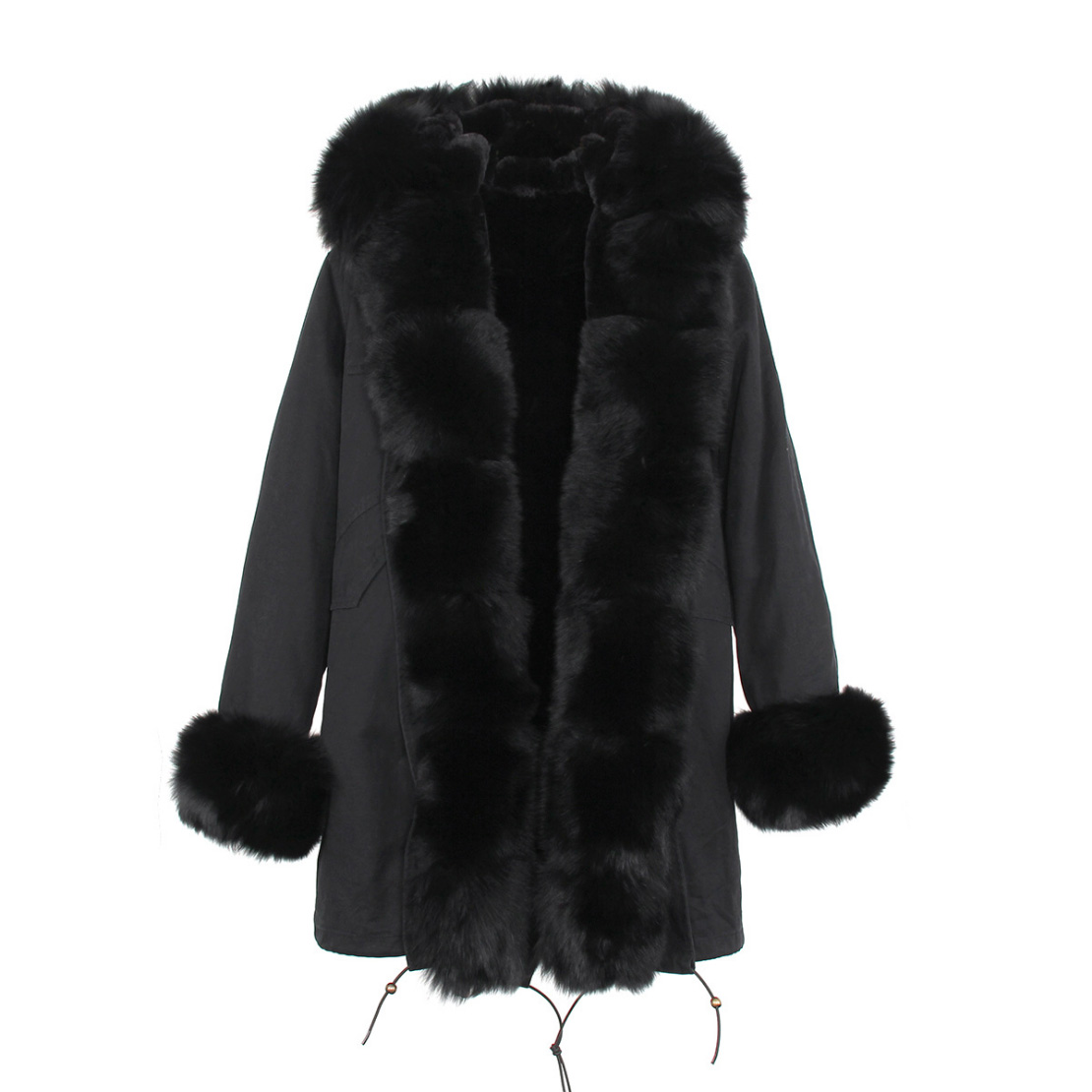 Fox Fur Trimmed Hooded Parka with Detachable Liner 133-13