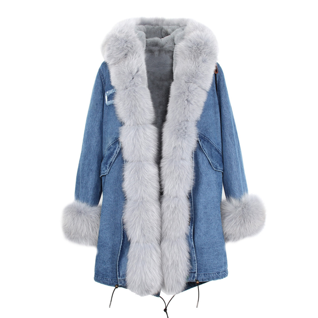Fox Fur Trimmed Hooded Parka with Detachable Liner 133-14