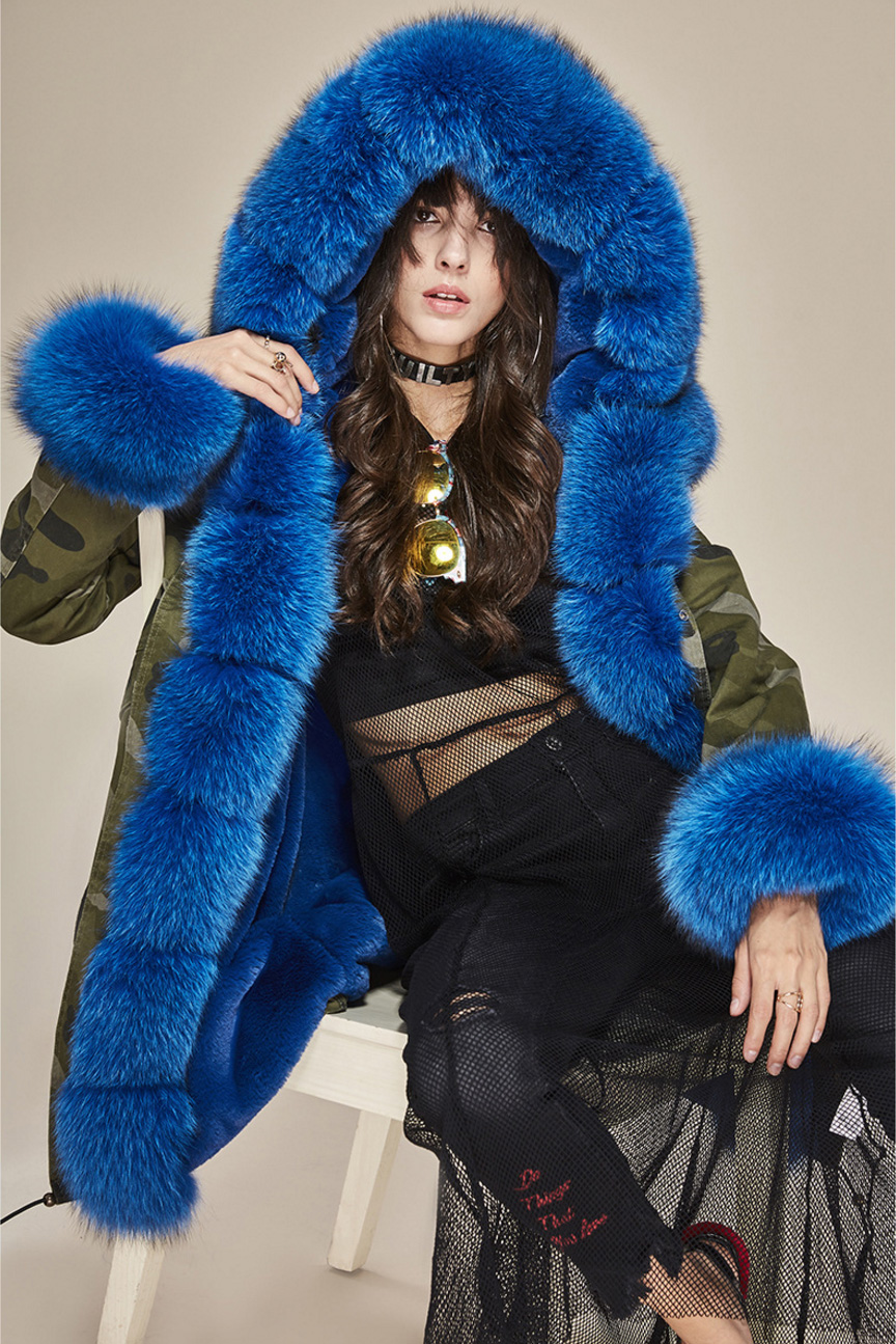 Fox Fur Trimmed Hooded Parka with Detachable Liner 133-19